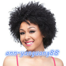 Fashion Women ladies Kinky Curly Wave Black Short Wig Synthetic Hair Wigs + Cap