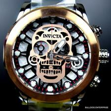 Invicta Skull Collection Skeletonized Chronograph Corduba Rose Gold Watch New
