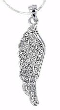 Angel Wing Austrian Crystal Pendant Silver .925 Chain Necklace Love