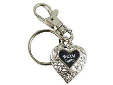 Mom Silver Filigree Heart Key Chain with Clip Jewelry Family Grandmother