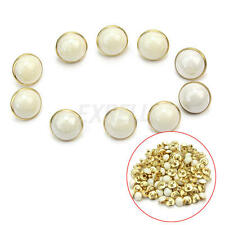 100 Pcs White Plastic Faux Pearl Shank Buttons Sewing Craft Diameter 10mm