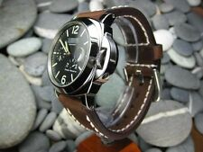 26mm NEW COW LEATHER STRAP Dark Brown Watch Band White Stitch PANERAI 26