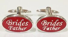 NOVELTY SILVER RED BRIDES FATHER WEDDING MENS DRESS CUFF LINKS CUFFLINKS (#1017)