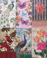 6 Paper Napkins Decoupage Mixed LOT Guest Towels Floral Birds Peacock Craft