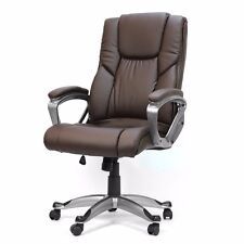 Brown PU Leather boss High Back Office home Chair Executive luxruy Computer Desk