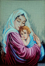 """Needlepoint tapestry painted canvas Madonna and Child (18""""x24"""") Gobelin 14.823"""