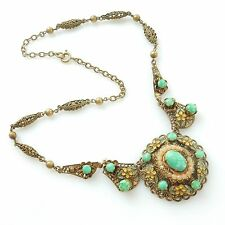 Antique 1940s Gold Filigree Enamel & Green Turquoise Stone Necklace