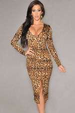 Long-sleeve Leopard Midi Dress With Front Slit-R177-ONE SIZE FITS MOST