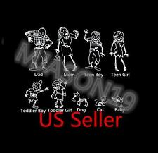 FROM USA Set of 9 Zombie Walking Dead Stick Family Vinyl Decal Sticker car decal