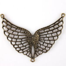5x Hot Sale Brone Plated Hollow Animals Wings Charms Alloy Connector Pendants L