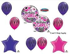 ZEBRA BUBBLE BIRTHDAY GIRL 9 PC HAPPY PARTY BALLOONS Decorations Supplies 16th
