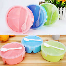 Portable Round Microwave Lunch Box Picnic Bento Food Container Storage+Spoon