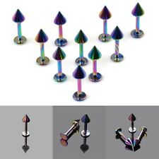 Lot 10pcs Colorful Stainless Steel Labret Lip Ring Ball Stud Chin Piercing Bars