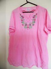 Denim & Co.  Women's Pink Embroidered  Gauze Top  Blouse  Sz 1X