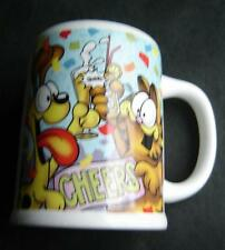 "Garfield the Cat Ceramic Mug Cup wirh Odie the Dog ""CHEERS"" Enesco 4 1/2"" x 3"""