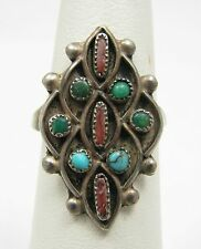 Vintage Blue Green Turquoise Coral Petit Point Needlepoint Sterling Silver Ring