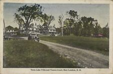 1927 Postcard - Twin Lake Villa and Tennis Court - New London NH