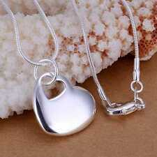 925 Sterling Silver Plated Heart in Heart Pendant & Necklace 46cm/18 inch Chain