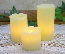 "Flameless Flickering Candles LED Electric Battery Operated Set of 3 Pillar 4""h,"
