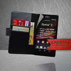 Black Wallet Flip Leather Case Cover Card Slot for Sony Xperia Z C6603 L36h +SP