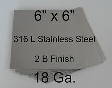 "316L Stainless Steel Plates 6"" x 6"" 18 Ga for HHO Dry/Wet cell generator Qty = 8"