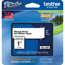 "Brother TZ251 1"" black on white TZ tape PT2430PC PT2730VP PT2730 PT9600 PT1400"