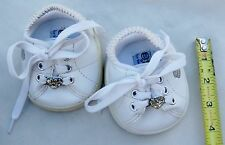Build a Bear White Sketchers Doll Clothes Shoes with Rhinestone Hearts