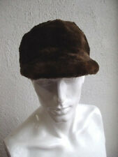 "NEW BROWN SHEARED BEAVER & MUSKRAT FUR BASEBALL CAP HAT MEN MAN WOMEN 23""-23.5"""