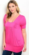 D52~NEW PINK SQUARE NECKLINE PUFF SLEEVE KNIT Top Plus Size 3X 3XL 18 20