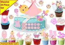 Baby Girl Shower New Born Cup Cake Scene Toppers Birthday Wafer Edible STAND UP