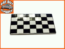 Quality Classic Car Chequered Flag Enamel Badge Emblem Self Adhesive