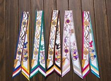 2pc/Pair NEW Print Silk Twilly Ribbon Women's Headband Necktie Bag Handle Scarf