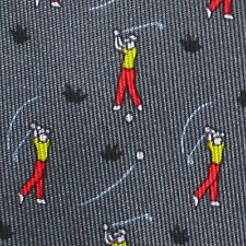 100% REAL HERMES TIE ~ GRAY w FUN RED w GOLFER GOLF BALL & YELLOW FLAG PIN XL