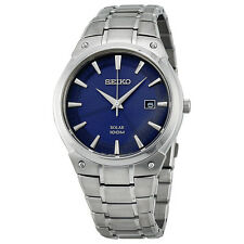 Seiko SNE323 Mens Solar Stainless Steel Blue Dial 100M Date 41mm Watch