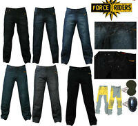 Men's motorbike denim jeans trousers with protective lining -WATER RESISTANT