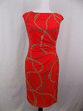 Women's New Lauren Ralph Lauren Cap Sleeve High Neck Jersey Dress Red Size 6 NWT