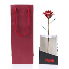 Valentine's Day 24k Gold Dipped Real Rose Red Elegant Flower Decor /w Gift Box