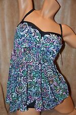 Gottex Profile 10 1PC Sheer Fly Away Bandeau Tankini Top SwimSuit Stain Glass