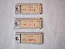 Vintage Iowa DAV 1970 Pair & Single License Plate Replica Tags Key Fob