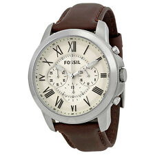 Fossil Grant White Dial Brown Leather SS Quartz Chronograph Men's Watch FS4735