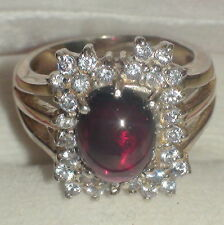 Natural! Hessonite Garnet Ring 925 S.Silver,Vintage Estate Jewelry,Size 7.0
