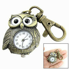 New Beautiful White Dial Bronze Tone Night Owl Shape Keyring Watch LW