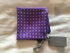 Authentic TOM FORD purple silk batiste Pochette beige DOTS Pocket Square NWT