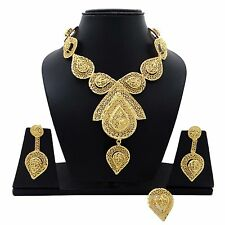 3 PC 18k Gold Plated Necklace Set Bollywood Traditional Ethnic Indian Jewelry