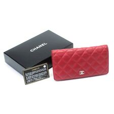 AUTH - Chanel Quilted Lambskin Leather Bi-Fold  Long Wallet - Used