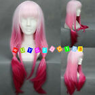 Womens Long Pink Mixed Hair Straight Full Wigs Lolita Cosplay Party Costume Wig