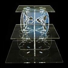 Tres Niveles Acebo Diseño Cuadrado Soporte De Tarta - Transparente