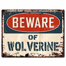 PP1813 Beware of WOLVERINE Plate Rustic Chic Sign Home Store Wall Decor Gift