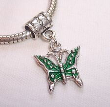 Green Enamel Butterfly Bug Garden Dangle Bead for Silver European Charm Bracelet