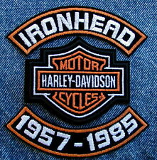 "4"" IRONHEAD 57-85 ROCKER SET W/ HARLEY DAVIDSON MOTORCYCLE BIKER CENTER PATCH"